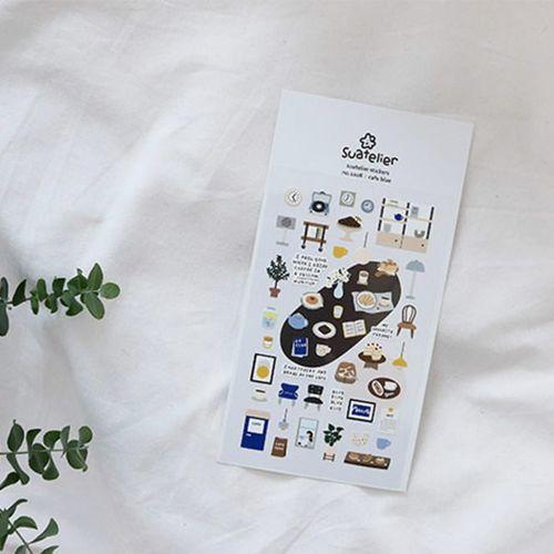 Cafe Blue Deco Sticker