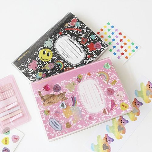Composition A6 Plain Notebook Glitter Cover