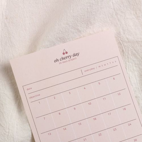 Oh Cherry Day 30 Days Project Tracking Sheets