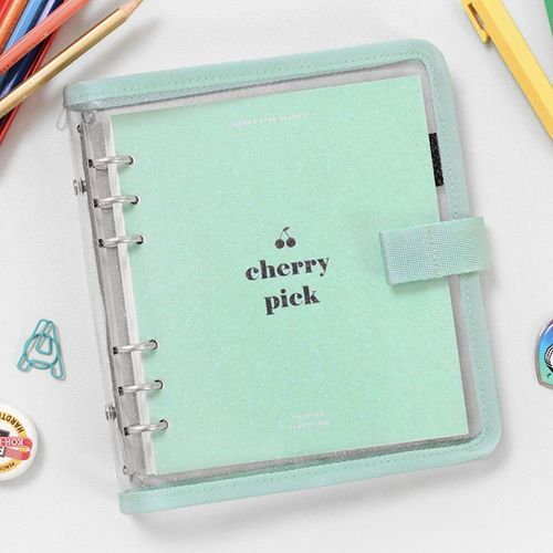Button Cherry Pink 6 Ring A6 Wide Planner