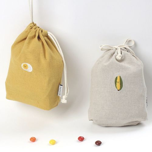 Small Embroidery Drawstring Pouch
