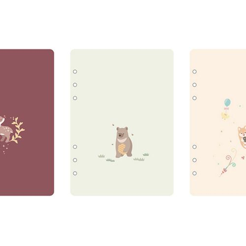 3 Months Baby Animal 6 Ring A5 Weekly Planner Refill
