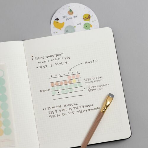 Wide Record Hardcover Grid Notebook