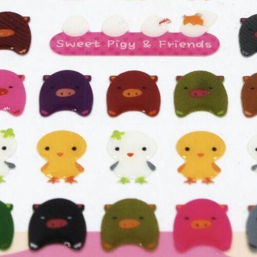 Pig & Bird Epoxy Deco Sticker