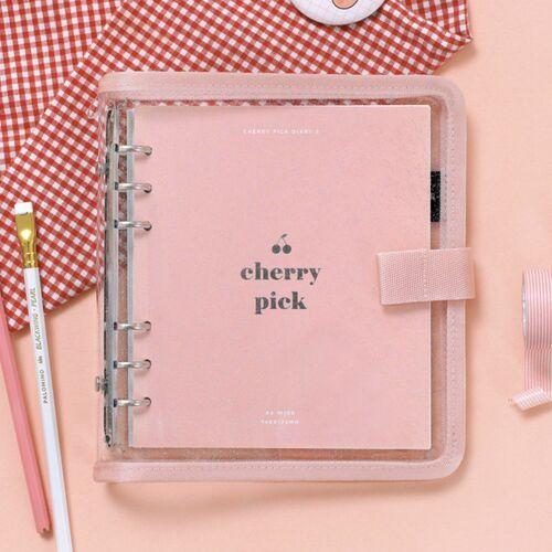 Button Cherry Pink 6 Ring A6 Wide Binder