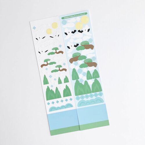 Oriental Bird and Mountain Slim Sticker