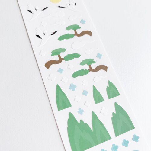 Oriental Bird and Mountain Slim Sticker
