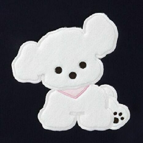 Animal Illustration Tablet Pouch, White Puppy (Black)
