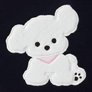 Animal Illustration 13in. Laptop Pouch, White Puppy (Black)