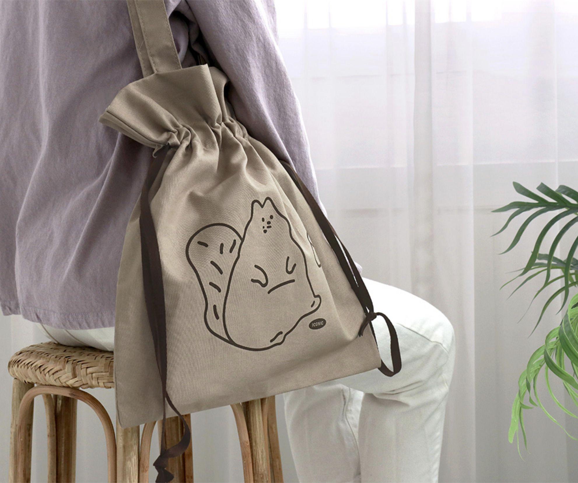 Cotton Drawstring Shoulder Bag