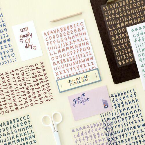 Calligraphy Alphabet&Number Sticker Set