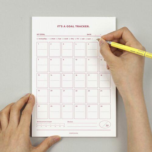 Large 30 Days Goal Tracking Notepad