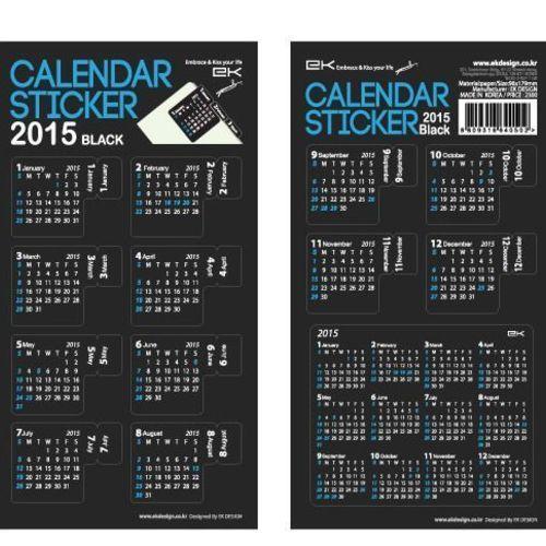 2015 Black Calendar Index Sticker