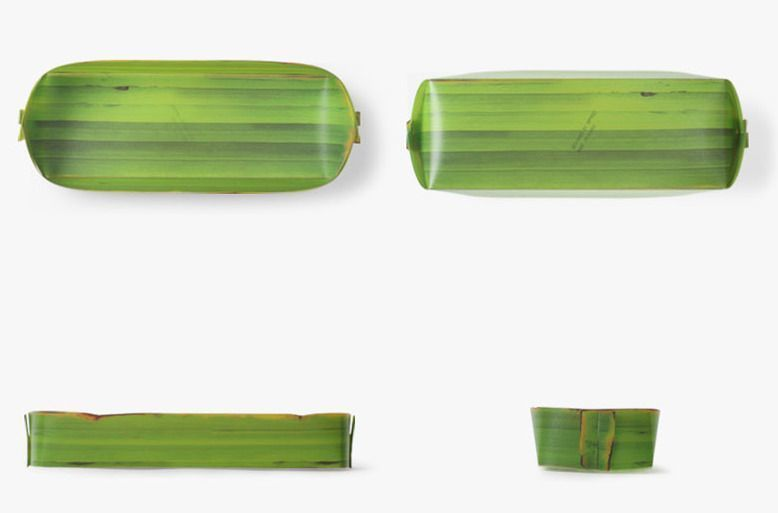 Long Banana Leaf Tray Set