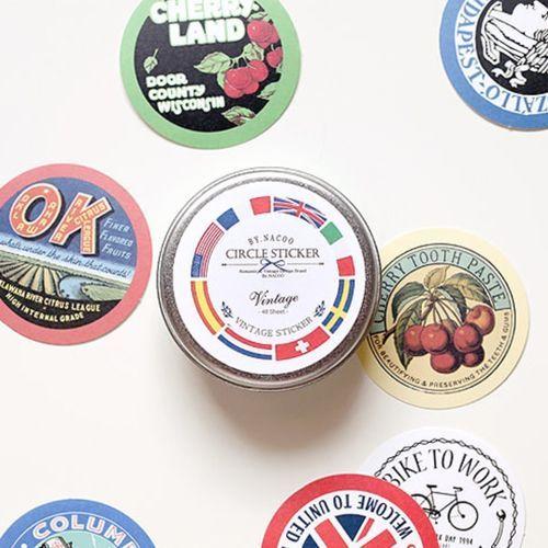 48pcs Vintage Round Deco Sticker Set