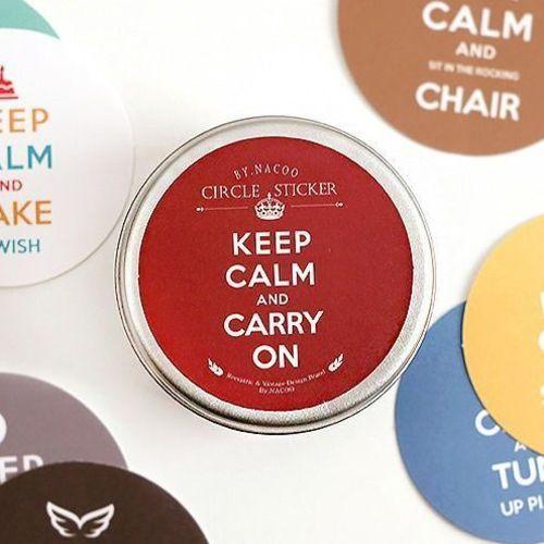 Keep Calm Round Deco Sticker Set
