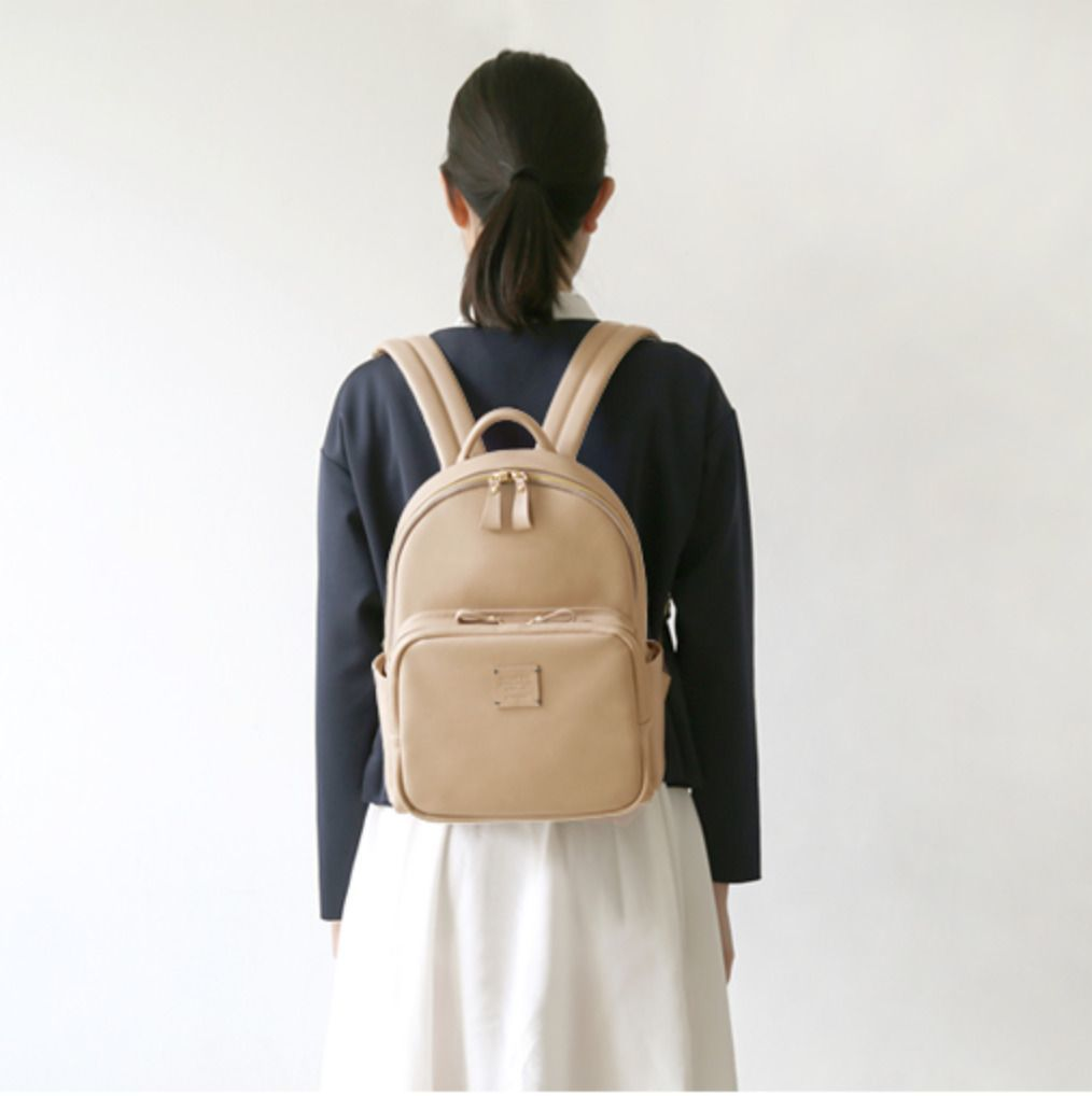 Square Mini Office Leather Backpack