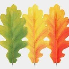 Oak Leaf Bookmark Pen Set, 3 Pieces (Green & Orange & Yellow)