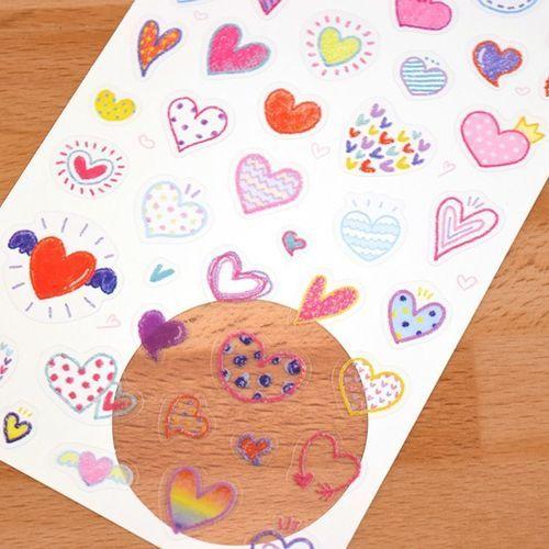 Crayon Heart Deco Sticker