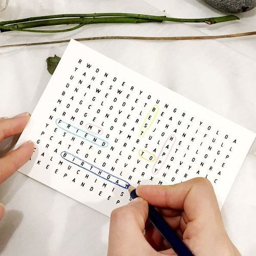 Word Search Puzzle Card