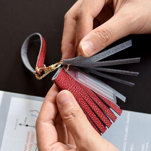 Genuine Leather Holiday Tassel Tag