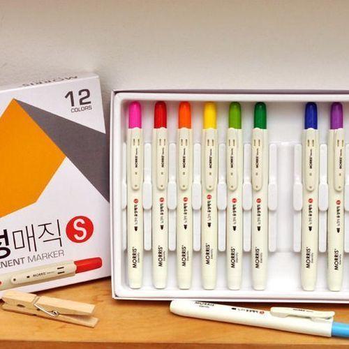 12pcs Retractable Permanent Marker Set