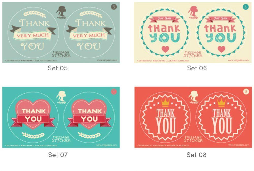 Thank You Message Sticker Set