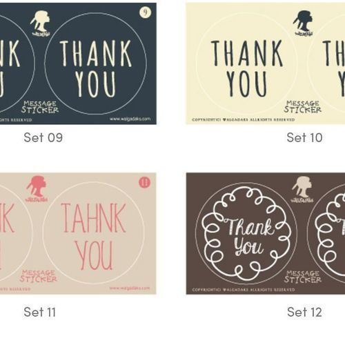 Thank You Message Sticker Set