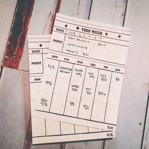 Vintage Weekly Schedule Notepad