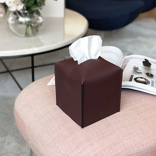 Small Edge Leather Tissue Cover