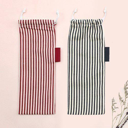 Medium Slim Stripe Drawstring Pouch