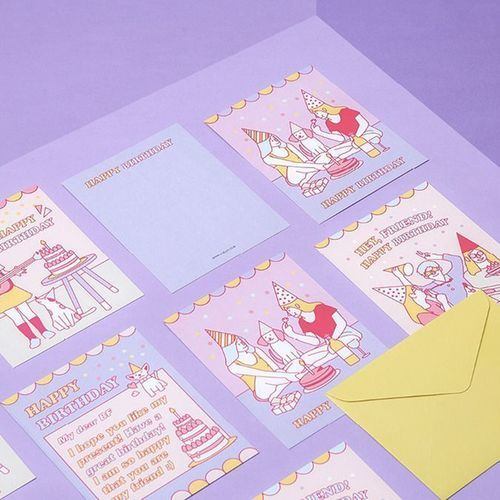 Retro Birthday Card & Envelope Set