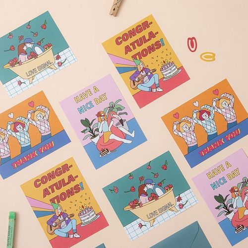 Retro Message Card & Envelope Set