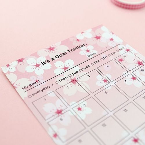 Cherry Blossom 30 Days Goal Tracking Sheets
