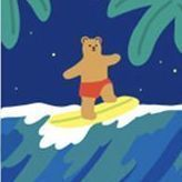 Dailylike Illustration Card v2, 21. Surfing Bear
