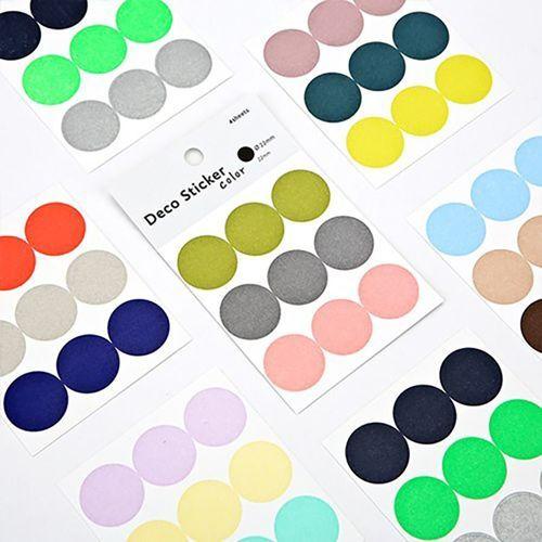 Large Solid Round Sticker Set