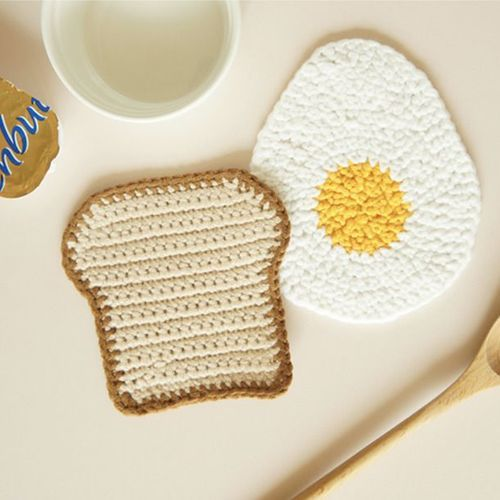 Egg & Bread Handmade Coaster Set