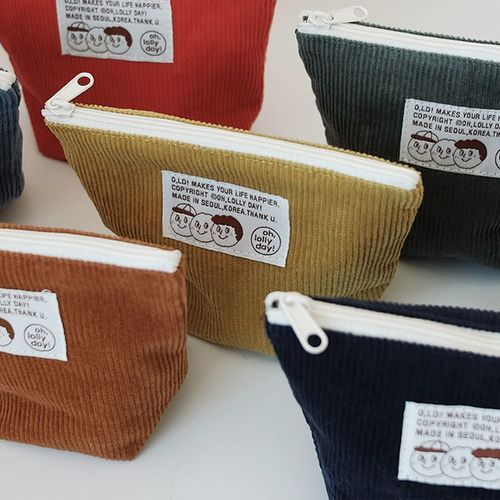 Small Corduroy Triangle Pouch