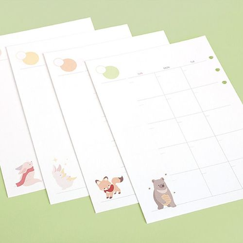 Baby Animal 6 Ring A5 Monthly Planner Refill