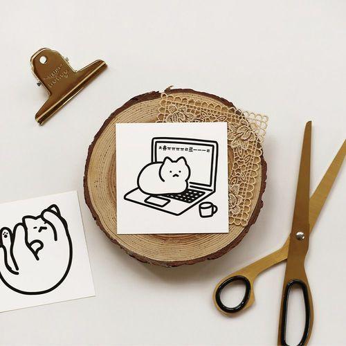 B&W Cat Removable Sticker Set